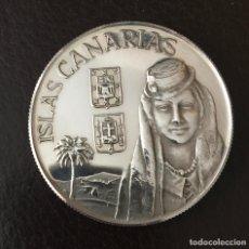 Medallas temáticas: MEDALLA DE ISLAS CANARIAS DE PLATA DE LEY . 45 MM. CON UN PESO DE 31,4 GRAMOS. Lote 167968624