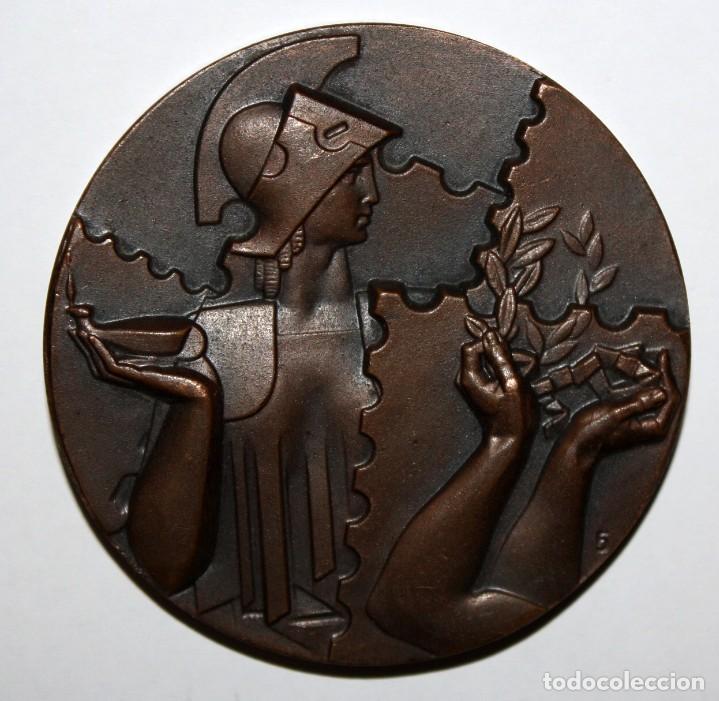 MEDALLA FNMT. 1 EXPOSICION NACIONAL DE FILATELIA. MADRID, AÑO 1958 (Numismática - Medallería - Temática)