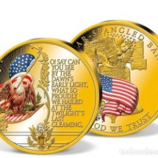 Medallas temáticas: CURIOSA MONEDA TAMAÑO GRANDE 70 MM CONMEMORATIVA CON EL HIMNO DE LOS ESTADOS UNIDOS DE AMERICA. Lote 169777020