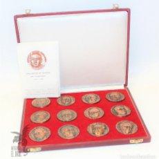 Medallas temáticas: ESTUCHE 12 MEDALLAS CONMEMORATIVAS DE CASAMADA SIN CIRCULAR GRUPO FILATÉLICO NUMISMÁTICO TERRASSA. Lote 171446358