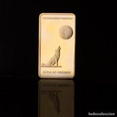 Medallas temáticas: EXCLUSIVO LINGOTE DE ORO CON UN LOBO AULLANDO A LA LUNA - EDICIÓN LIMITADA -. Lote 194914861