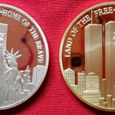 Medallas temáticas: DOS MONEDAS DE ORO Y PLATA 911 DEL HOGAR LIBRE DE VALIENTES RECUERDO TORRES GEMELAS (NUEVA). Lote 175962104