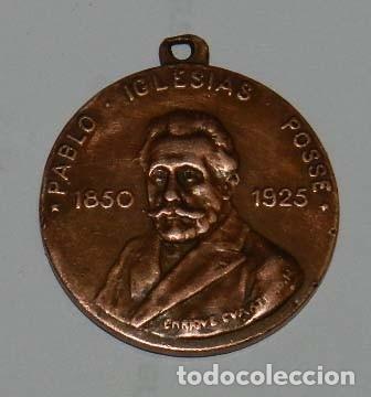 MEDALLA DE PABLO IGLESIAS POSSE 1850-1925. UNIÓN GENERAL DE TRABAJADORES. POR ENRIQUE CUARTERO. MIDE (Numismática - Medallería - Temática)