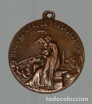 Medallas temáticas: Medalla de Pablo Iglesias Posse 1850-1925. Unión General de Trabajadores. Por Enrique Cuartero. Mide - Foto 2 - 176057263