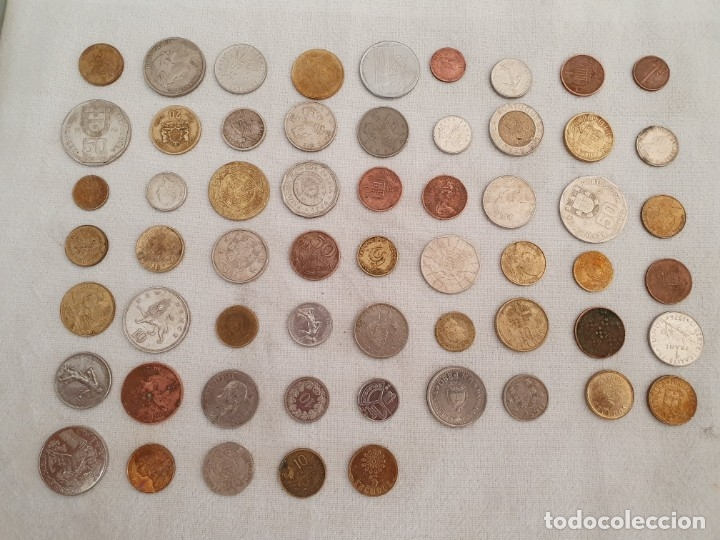 Medallas temáticas: Lote de 59 monedas extrangeras. BE - Foto 2 - 179007742