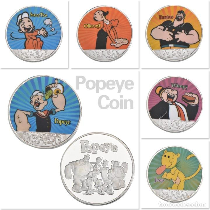 Medallas temáticas: LOTE 8 MONEDAS CONMEMORATIVAS POPEYE EL MARINO - CAPSULADAS - PLATA Y COLOREADAS - Foto 2 - 179049598