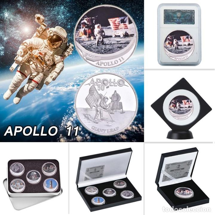 LOTE 5 MONEDAS CONMEMORATIVAS APOLLO 11 - APOLO 11 - SET CAJA - EDICION LIMITADA - NASA (Numismática - Medallería - Temática)
