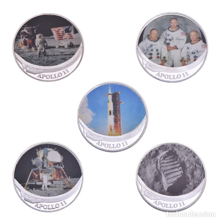 Medallas temáticas: LOTE 5 MONEDAS CONMEMORATIVAS APOLLO 11 - APOLO 11 - SET CAJA - EDICION LIMITADA - NASA - Foto 2 - 179049717