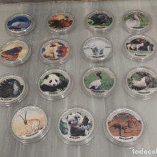 Medallas temáticas: LOTE 14 MONEDAS ANIMALES EN PELIGRO EXTINCION - COLOREADAS - BAÑADA EN PLATA. Lote 179115833