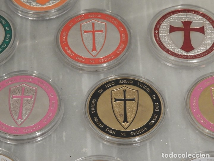 Medallas temáticas: LOTE 20 MONEDAS CABALLEROS TEMPLARIOS - COLOREADAS - ESCUDOS - PLATA - Foto 6 - 179115953