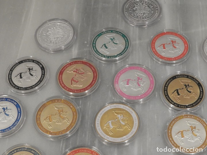 Medallas temáticas: LOTE 20 MONEDAS CABALLEROS TEMPLARIOS - COLOREADAS - ESCUDOS - PLATA - Foto 8 - 179115953