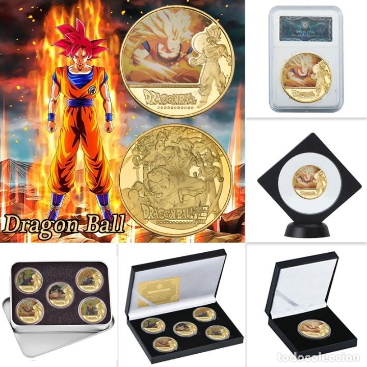 LOTE 5 MONEDAS DRAGON BALL Z - GOKU - BAÑADO EN ORO 24KT - EDICION LIMITADA (Numismática - Medallería - Temática)