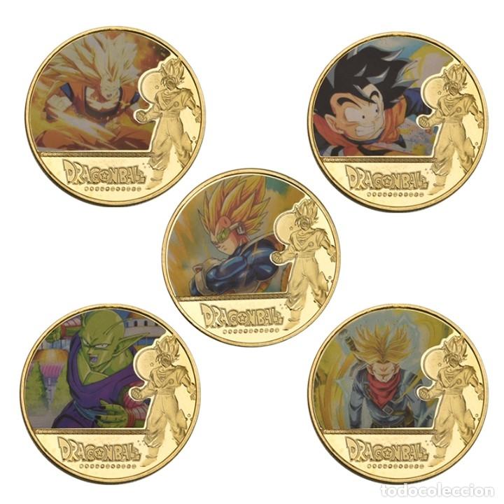 Medallas temáticas: LOTE 5 MONEDAS DRAGON BALL Z - GOKU - BAÑADO EN ORO 24KT - EDICION LIMITADA - Foto 2 - 179116436