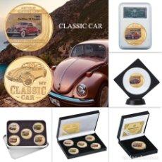 Medallas temáticas: LOTE 5 MONEDAS COCHES CLASICOS - BAÑADA EN ORO 24KT - EDICION LIMITADA. Lote 179116571