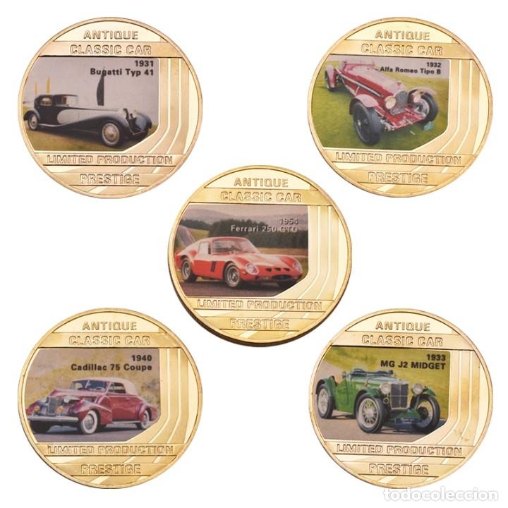 Medallas temáticas: LOTE 5 MONEDAS COCHES CLASICOS - BAÑADA EN ORO 24KT - EDICION LIMITADA - Foto 2 - 179116571
