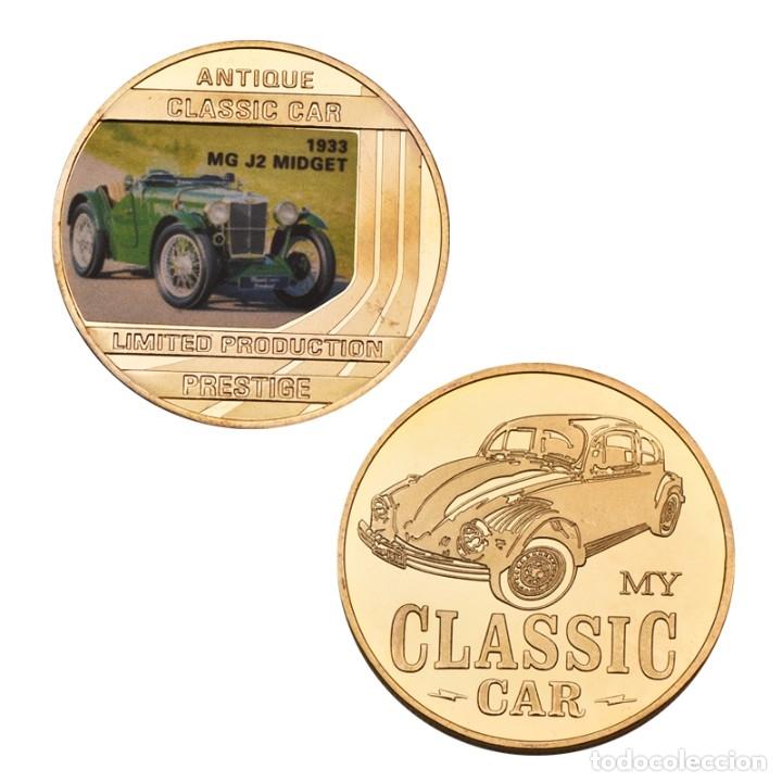 Medallas temáticas: LOTE 5 MONEDAS COCHES CLASICOS - BAÑADA EN ORO 24KT - EDICION LIMITADA - Foto 3 - 179116571