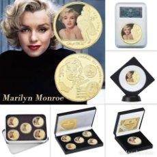 Medallas temáticas: LOTE 5 MONEDAS MARILYN MONROE - BAÑADO EN ORO 24KT - EDICION LIMITADA. Lote 179117016