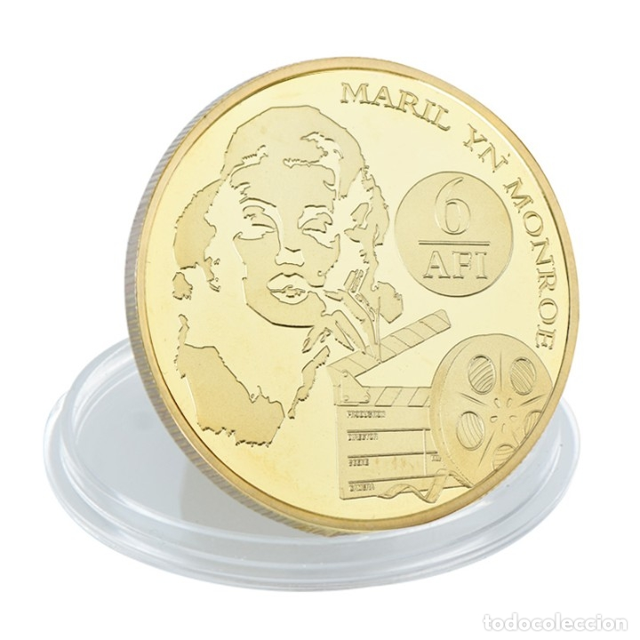 Medallas temáticas: LOTE 5 MONEDAS MARILYN MONROE - BAÑADO EN ORO 24KT - EDICION LIMITADA - Foto 3 - 179117016