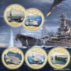 Medallas temáticas: LOTE 5 MONEDAS BARCOS DE GUERRA - PORTAAVIONES ESTADOS UNIDOS - ORO 24KT - EDICION LIMITADA. Lote 179117307
