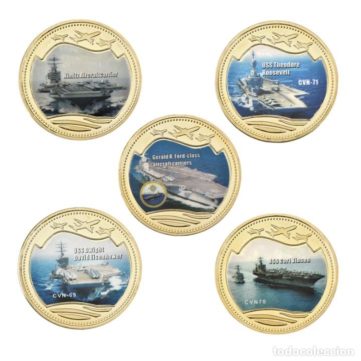Medallas temáticas: LOTE 5 MONEDAS BARCOS DE GUERRA - PORTAAVIONES ESTADOS UNIDOS - ORO 24KT - EDICION LIMITADA - Foto 2 - 179117307