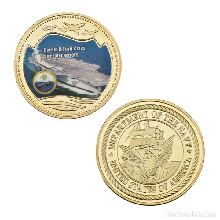 Medallas temáticas: LOTE 5 MONEDAS BARCOS DE GUERRA - PORTAAVIONES ESTADOS UNIDOS - ORO 24KT - EDICION LIMITADA - Foto 3 - 179117307