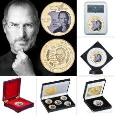Medallas temáticas: LOTE 5 MONEDAS STEVE JOBS - FUNDADOR APPLE - BAÑADO EN ORO 24KT - EDICION LIMITADA. Lote 179117743