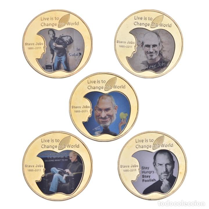 Medallas temáticas: LOTE 5 MONEDAS STEVE JOBS - FUNDADOR APPLE - BAÑADO EN ORO 24KT - EDICION LIMITADA - Foto 2 - 179117743