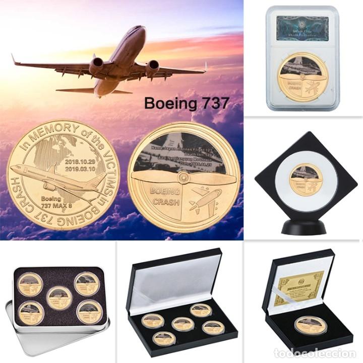 LOTE 5 MONEDAS AVION BOING 737 ACCIDENTE AEREO - EDICION LIMITADA (Numismática - Medallería - Temática)