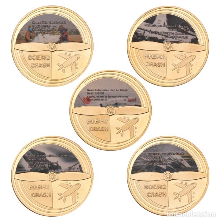 Medallas temáticas: LOTE 5 MONEDAS AVION BOING 737 ACCIDENTE AEREO - EDICION LIMITADA - Foto 2 - 179118087