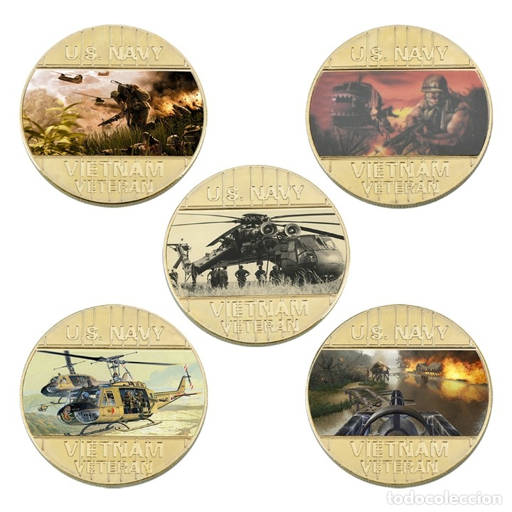 Medallas temáticas: LOTE 5 MONEDAS HELICOPTEROS GUERRA VIETNAM ESTADOS UNIDOS - BAÑADO ORO 24KT - EDICION LIMITADA - Foto 2 - 190406241