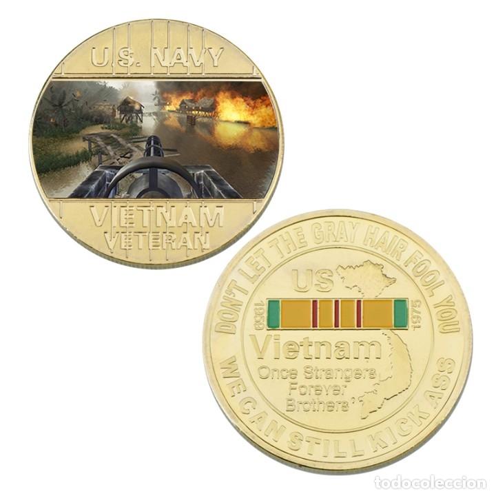 Medallas temáticas: LOTE 5 MONEDAS HELICOPTEROS GUERRA VIETNAM ESTADOS UNIDOS - BAÑADO ORO 24KT - EDICION LIMITADA - Foto 3 - 190406241