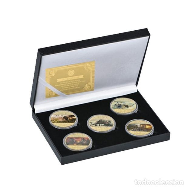 Medallas temáticas: LOTE 5 MONEDAS HELICOPTEROS GUERRA VIETNAM ESTADOS UNIDOS - BAÑADO ORO 24KT - EDICION LIMITADA - Foto 4 - 190406241