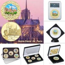 Medallas temáticas: LOTE 5 MONEDAS INCENDIO CATEDRAL FRANCIA NOTRE DRAME PARIS - ANTES Y DESPUES - EDICION LIMITADA. Lote 179118435