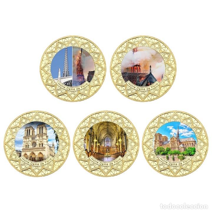 Medallas temáticas: LOTE 5 MONEDAS INCENDIO CATEDRAL FRANCIA NOTRE DRAME PARIS - ANTES Y DESPUES - EDICION LIMITADA - Foto 2 - 179118435