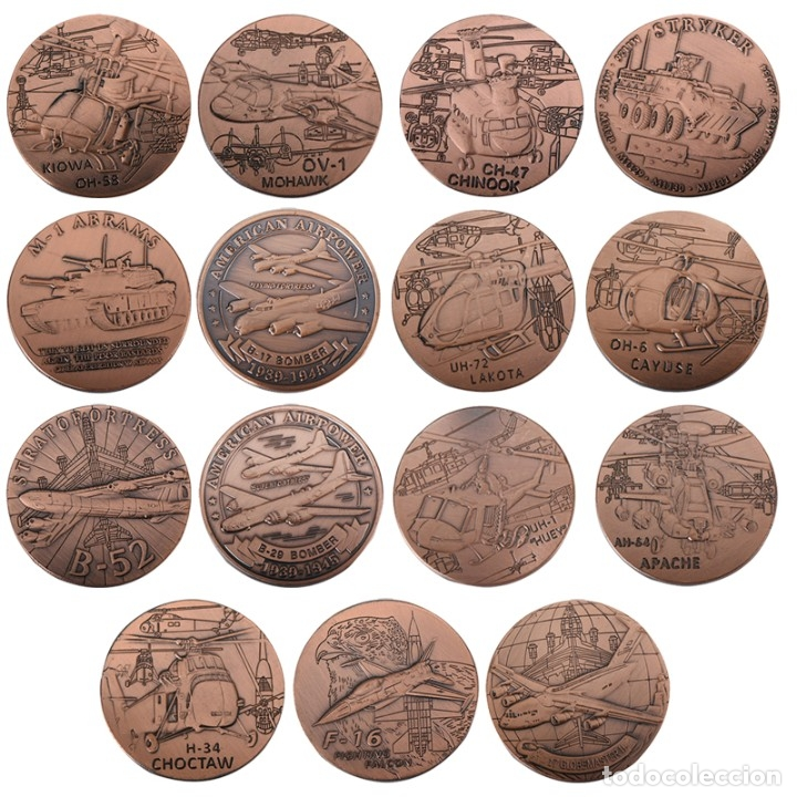 LOTE 15 MONEDAS FUERZA ARMADA ESTADOS UNIDOS - COBRE - EDICION LIMITADA (Numismática - Medallería - Temática)