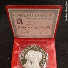 Medallas temáticas: MONEDA DE PLATA JUAN CARLOS Y SOFÍA REYES DE ESPAÑA. PLATA 1000/1000. Lote 179541155
