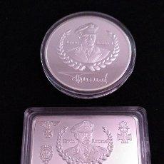Medallas temáticas: BONITO LOTE DE MONEDA Y LINGOTE PLATA ALEMANIA DE ERWIN ROMMEL 1891-1944 DEUTSCHE WEHRMACHT NAZI. Lote 179605248