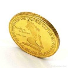 Medallas temáticas: MONEDA ORO 23 KLTS MARILYN MONROE, CON SU FOTO MAS SEXI EN EL REVERSO, 3,8 CMS, EN SU ESTUCHE NUMISM. Lote 180136005