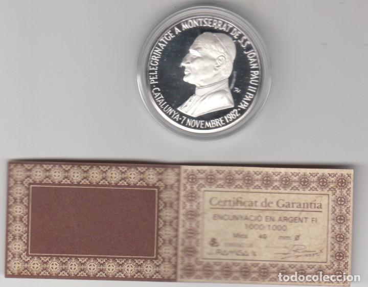MONEDA DE PLATA CONMEMORATIVA VISITA A MONTSERRAT DE JOAN PAU II -JUAN PABLO II -1982- DE RAMISA (Numismática - Medallería - Temática)