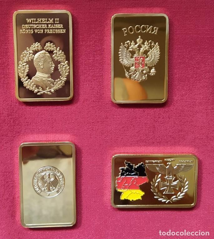 4 LINGOTES ORO TEMA MILITAR PRECIOSOS NUEVOS DISTINTOS (Numismática - Medallería - Temática)