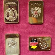 Medallas temáticas: 4 LINGOTES ORO TEMA MILITAR PRECIOSOS NUEVOS DISTINTOS. Lote 183704335