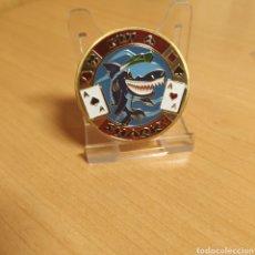 Medallas temáticas: MONEDA TOKEN POKER DE LA SUERTE SHARK TIBURON AS AS POQUER. Lote 183772276