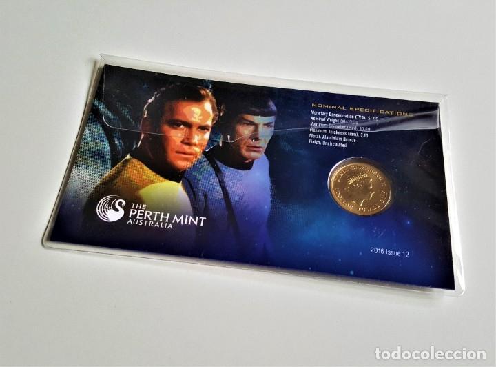 Medallas temáticas: MONEDA ORO BAÑADA STAR TREK SPOCK $1 ONE DOLLAR UNC 2016 MONEDA COIN PERTH MINT - COLECCIONISTAS - Foto 10 - 184586341