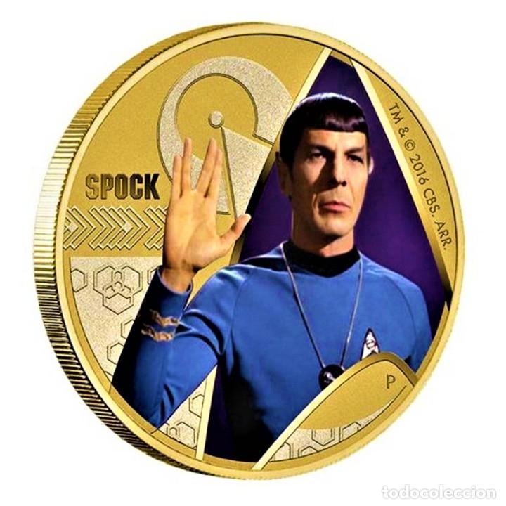 MONEDA ORO BAÑADA STAR TREK SPOCK $1 ONE DOLLAR UNC 2016 MONEDA COIN PERTH MINT - COLECCIONISTAS (Numismática - Medallería - Temática)