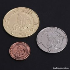 Medallas temáticas: 3 MONEDAS DE HARRY POTTER + REGALO BILLETE TREN DESTINO HOGWARDS!!!!!!!. Lote 194785450