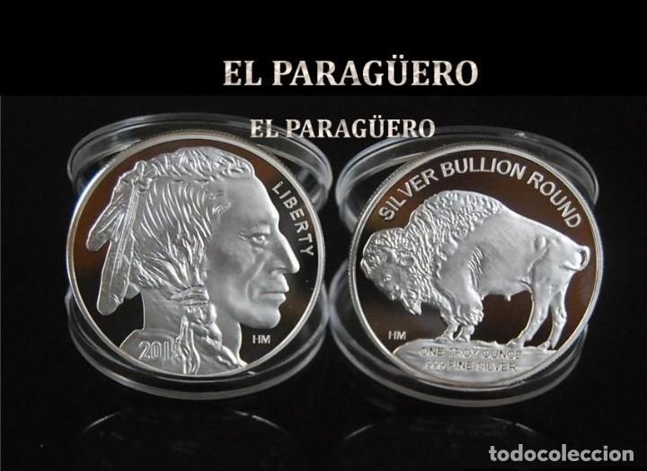 ESTADOS UNIDOS MEDALLA TIPO MONEDA PLATA ( GRAN JEFE INDIO Y BUFALO ) - PESO 43 GRAMOS - Nº14 (Numismática - Medallería - Temática)