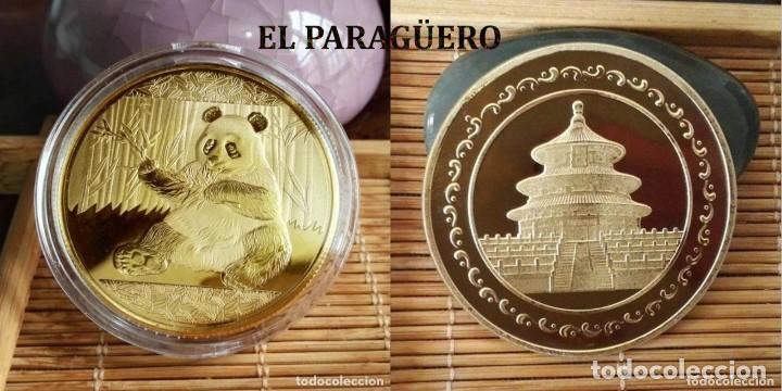 MEDALLA TIPO MONEDA ORO 24 KILATES ( HOMENAJE AL OSO PANDA ) - PESA 13,57 GRAMOS - Nº8 (Numismática - Medallería - Temática)