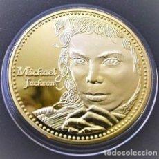 Medallas temáticas: MONEDA ORO DE MICHAEL JACKSON CONOCIDO COMO EL REY DEL POP. Lote 187618496
