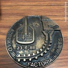 Medallas temáticas: AVILES-ACERÍA LD III FACTORÍA-AÑO 1988 -ENSIDESA-MEDALLA.. Lote 188574387