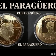 Medallas temáticas: MEDALLA TIPO MONEDA ORO 24 KILATES ( EE.UU HOMENAJE AL 45º PRESIDENTE DONALD TRUMP)PESO 27 GRA -Nº4. Lote 228309905